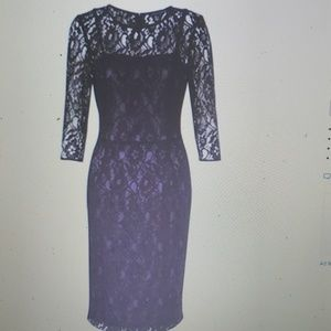 French Connection Lace Acai Berry Black Dress New